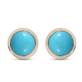 9K Yellow Gold AA Arizona Sleeping Beauty Turquoise Stud Earrings (with Push Back) 5.02 Ct.