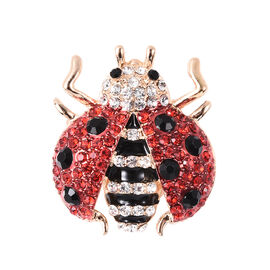 Multi Colour Austrian Crystal Ladybird Brooch in Gold Tone