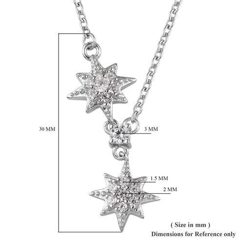 Natural Cambodian Zircon Star Necklace (Size 18) in Platinum Overlay Sterling Silver 0.50 Ct.