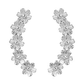 Platinum Overlay Sterling Silver Floral Earrings (with Push Back)