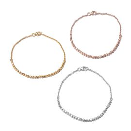Set of 3 - 14K Gold, Rose Gold and Rhodium Overlay Sterling Silver Beads Bracelet (Size 7.50), Silver wt 9.80 Gms.