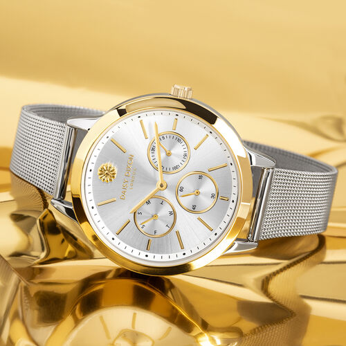 Limited Edition Daisy Dixon Heidi Mesh Strap Bracelet Watch With Gold Tone Bezel And Silver/Gold Tone Multi Dial in Stainless Steel