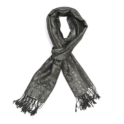 100% Superfine Silk Black, Grey and Blue Colour Paisley and Floral Pattern Scarf (Size 180x70 Cm)