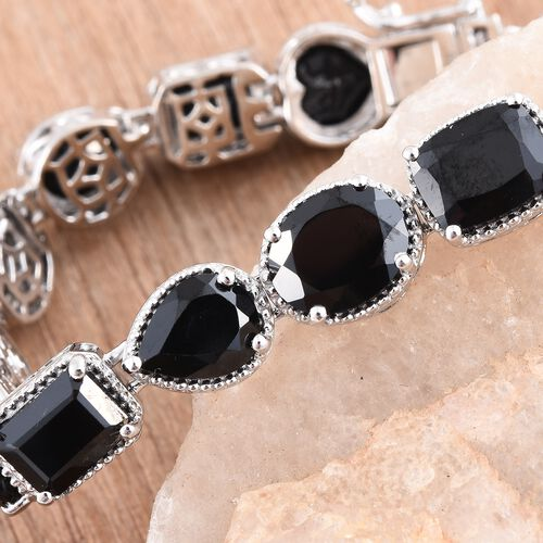 Boi Ploi Black Spinel COCKTAIL Bracelet (Size 7.75) in Platinum Overlay Sterling Silver 37.500 Ct. Silver wt. 16.40 Gms.
