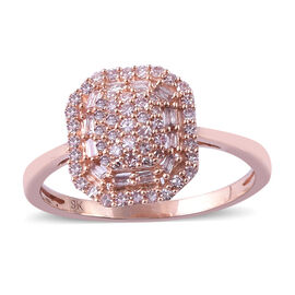 Natural Pink Diamond (0.50 Ct) 9K R Gold Ring  0.500  Ct.