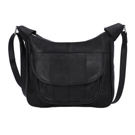 New Arrival - 100% Genuine Leather Hobo Bag with Flap Pocket in Front and Adjustable Shoulder Strap