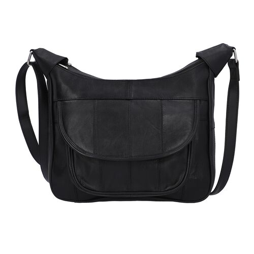 New Arrival - 100% Genuine Leather Hobo Bag with Flap Pocket in Front and Adjustable Shoulder Strap