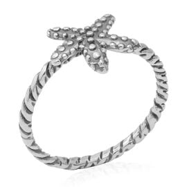 Sterling Silver Star Fish Twisted Ring (Size P)