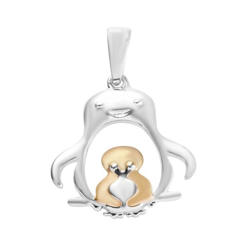 Platinum and Yellow Gold Overlay Sterling Silver Penguin Mother Child Pendant