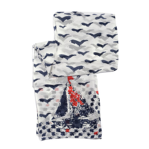 100% Mulberry Silk Multi Colour Yacht and Birds Pattern White Colour Scarf (Size 180x100 Cm)