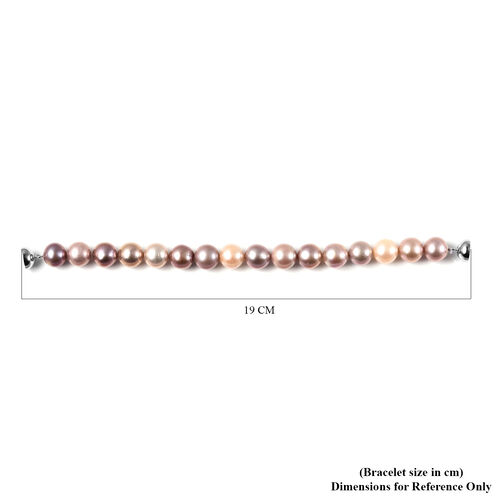 Multi Colour Edison Pearl Bracelet (Size 7 with Magnetic Lock) in Rhodium Overlay Sterling Silver