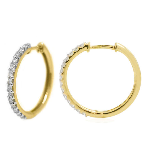 14K Yellow Gold Diamond (Rnd) (I2/G-H) Hoop Earrings (with Clasp Lock) 1.00 Ct, Gold wt. 6.01 Gms.