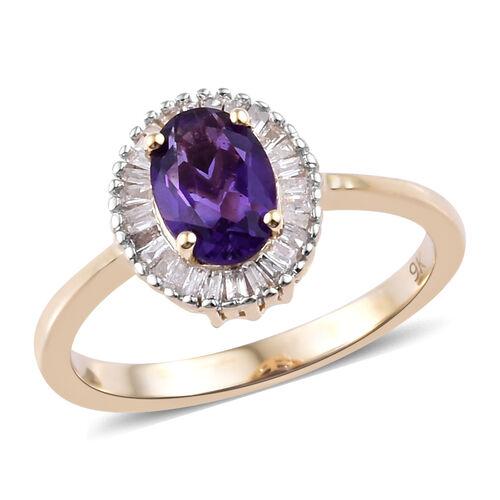9K Yellow Gold AAA Lusaka Amethyst (Ovl 0.750 Ct) Diamond Ring 1.000  Ct.
