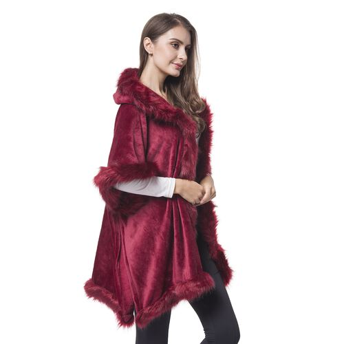 Designer Inspired - Wine Red Faux Fur Hoodie Jacket (One Size For All)