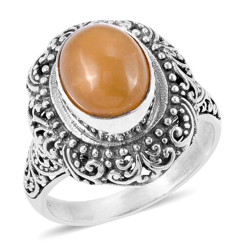 Royal Bali Collection Yellow Jade (Ovl) Filigree Ring in Sterling Silver 6.077 Ct. Silver wt 6.80 Gms.