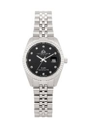 CHRISTOPHE DUCHAMP Elysees Swiss Movement Black Dial Watch With Diamonds in Stainless Steel Silver S