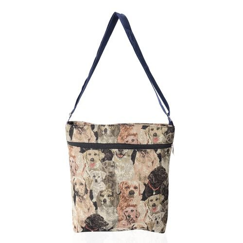 Super Chic Dog Print Handbag with Adjustable Strap and Extra Compartment (32x27x5.5cm)
