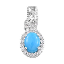 1.25 Carat Sleeping Beauty Turquoise and Cambodian Zircon Halo Pendant in Platinum Plated Sterling S