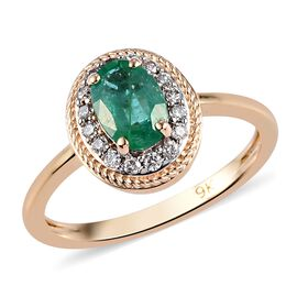 9K Yellow Gold AAA Premium Emerald and Diamond (I3/G-H) Halo Ring 1.00 Ct.
