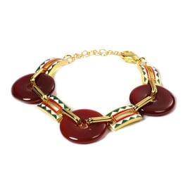Carnelian Donut Shape Linked Bracelet (Size 7 with 1 inch Extender) in Stainless Steel