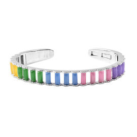17.15 Ct Multi Colour AAA Jade Cuff Bangle in Rhodium Plated Sterling Silver 25.44 Grams 7.5 Inch