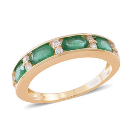9K Yellow Gold AA Kagem Zambian Emerald (Ovl), Natural White Cambodian Zircon Ring 2.000 Ct.