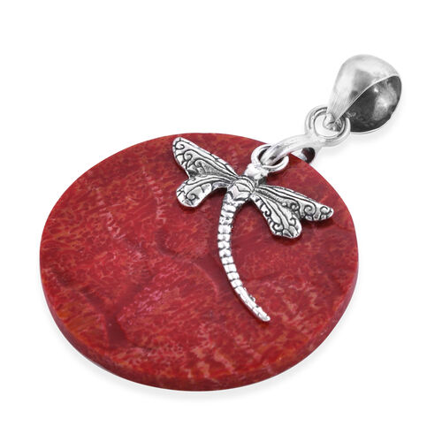 Royal Bali Collection Coral Dragonfly Pendant in Sterling Silver