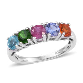 African Ruby (Rnd 4 mm), Tanzanite, Russian Diopside, Paraiba Apatite and Jalisco Fire Opal Five Sto