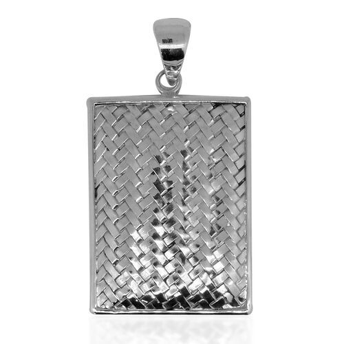 One Time Deal-Royal Bali Collection Sterling Silver Bamboo Weave Pendant, Silver wt. 10.01 Gms.