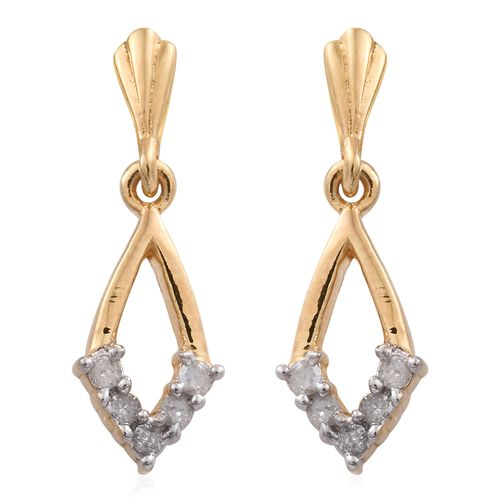 Silver Diamond Earrings (with Push Back) in Gold Overlay