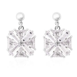 Simulated Diamond Drop Solitaire Earrings in Silver Tone