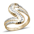 Royal Bali Diamond Cut Bypass Design Ring (Size L) in 9K Yellow and White Gold