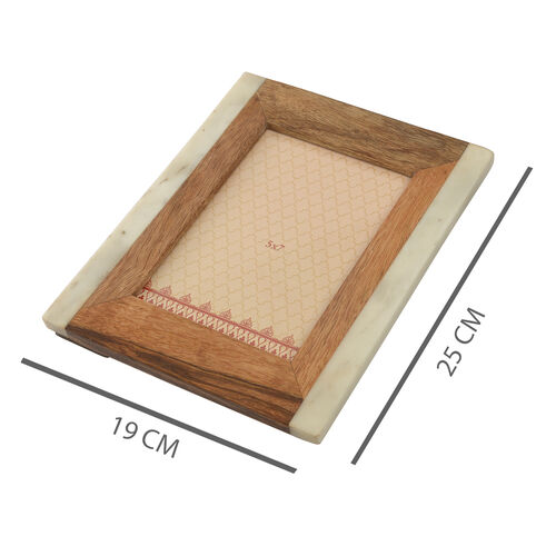 Home Decor - Wooden and Marble Photo Frame (Size 5x7 inch)