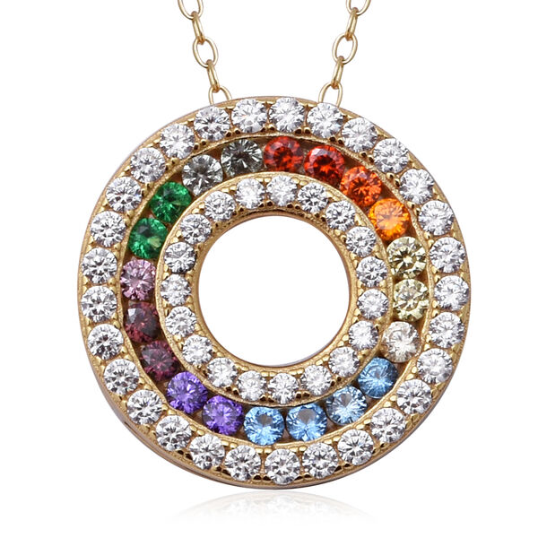 ELANZA Simulated Rainbow Sapphire (Rnd), Circle Pendant with Chain (Size 18) in 14K Gold Overlay Ste