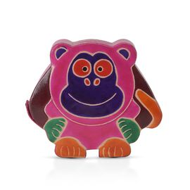 Handmade and Hand Painted Monkey Coin Bank (Size 16.5x4x15 Cm) - Fuchsia, Blue and Multicolour