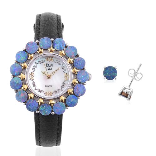 EON 1962 Swiss Movement Australian Boulder Opal MOP Dial 3 ATM Water Resistant Watch in Dual Tone and Stud Earrings (with Push Back) in Rhodium Plated Sterling Silver 6.500 Ct.