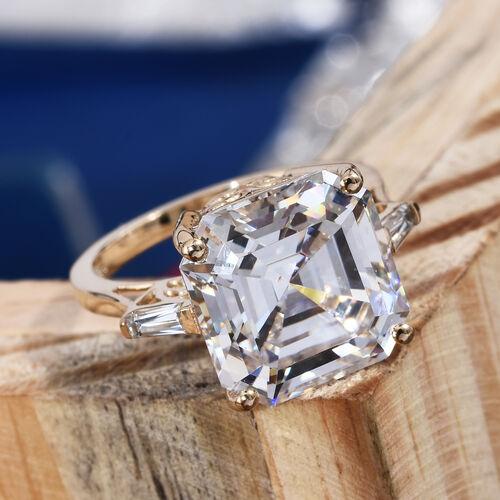 J Francis - 9K Yellow Gold (Asscher Cut 12x12) Ring Made with SWAROVSKI ZIRCONIA