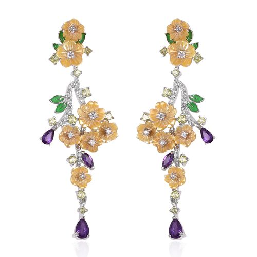 JARDIN COLLECTION - Yellow Mother of Pearl, Amethyst and Natural White Cambodian Zircon and Multi Gemstone Enameled Floral Earrings (with French Clip) in Rhodium Overlay Sterling Silver 9.88 Gms