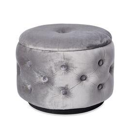 Button Tufted Velvet Ottoman with Storage Box (Size Dia-42.5 Cm, H-31 Cm) - Grey