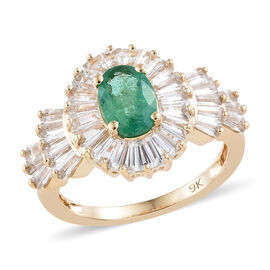 2.75 Ct AA Zambian Emerald and Cambodian Zircon Halo Ring in 9K Gold 2.97 Grams