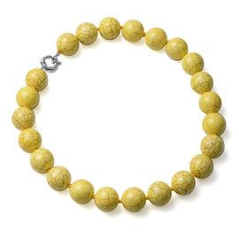 Yellow Howlite Beads Necklace (Size - 20) with Senorita Clasp 1077.50 Ct.