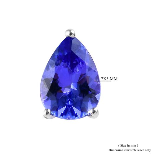 9K White Gold AA Tanzanite Stud Earrings (with Push Back) 1.50 Ct.