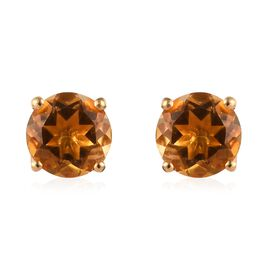 Citrine (Rnd) Stud Earrings (with Push Back) in 14K Gold Overlay Sterling Silver 1.50 Ct.