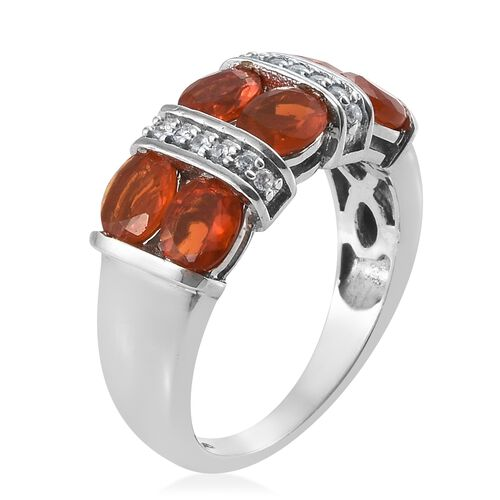 Jalisco Fire Opal (Ovl 1.40 Ct), Natural Cambodian Zircon Ring in Platinum Overlay Sterling Silver 1.500 Ct.