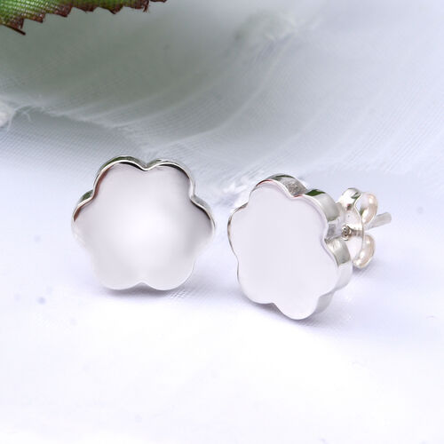 Sterling Silver Flower Stud Earrings (with Push Back)