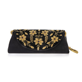 Peacock Sequence Hand Embroidered Velvet Clutch with Shoulder Strap (Size 25.4x12.7 Cm) - Black