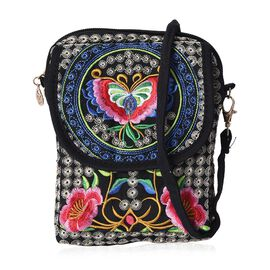 SHANGHAI  COLLECTION - Embroidered Butterfly and Flower Pattern Crossbody Bag with Detachable Strap