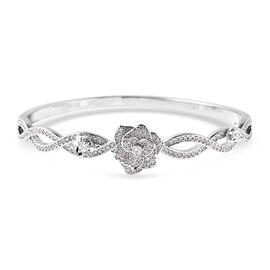 Simulated Diamond Floral Bangle (Size 7) in Silver Tone