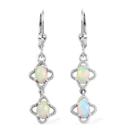 Ethiopian Welo Opal (Ovl) Lever Back Earrings (with Push Back) in Platinum Overlay Sterling Silver 1