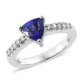 RHAPSODY 950 Platinum AAAA Tanzanite (Trl), Diamond (VS/E-F) Solitaire Ring 1.300 Ct, Platinum wt: 6.06 Gms.